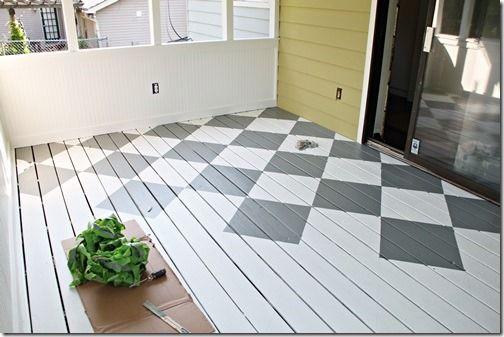 How To Paint Diamonds On The Floor Southern Hospitality Painted Wood Floors Painting Tile Floors Patio Flooring