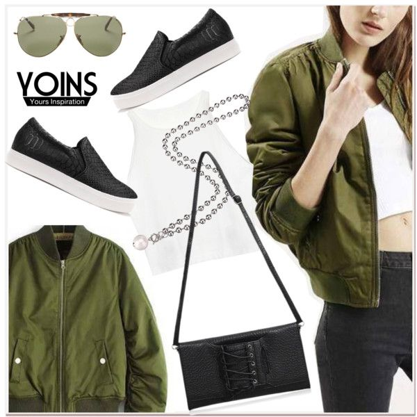 Green bomber jacket polyvore