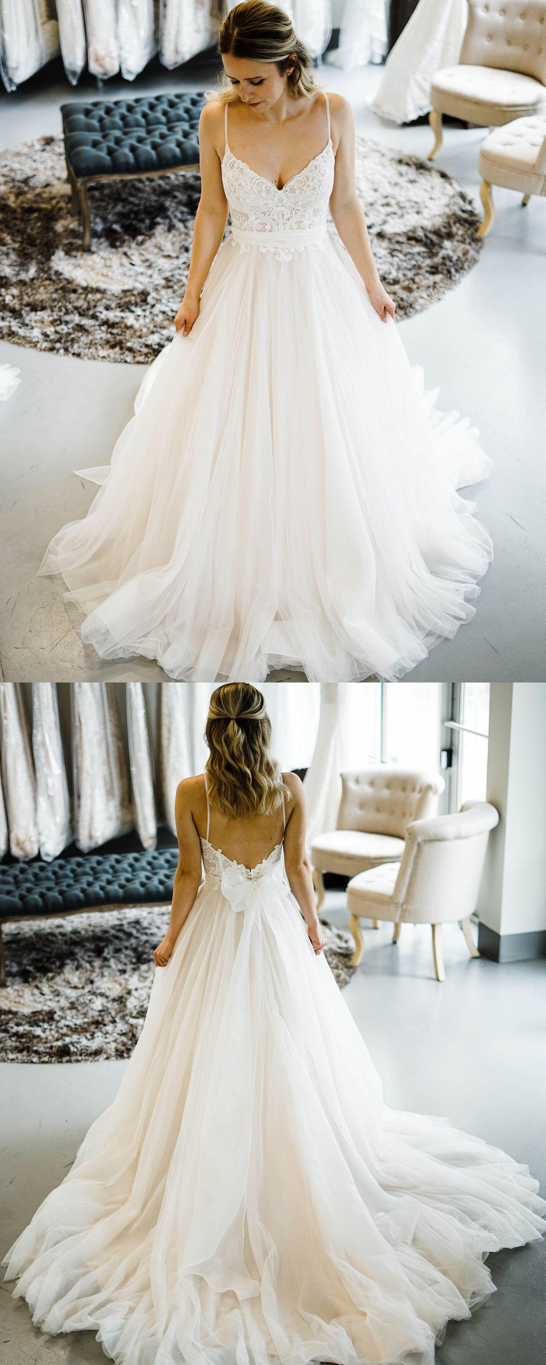 Spaghetti strap ivory train long wedding dress in prom