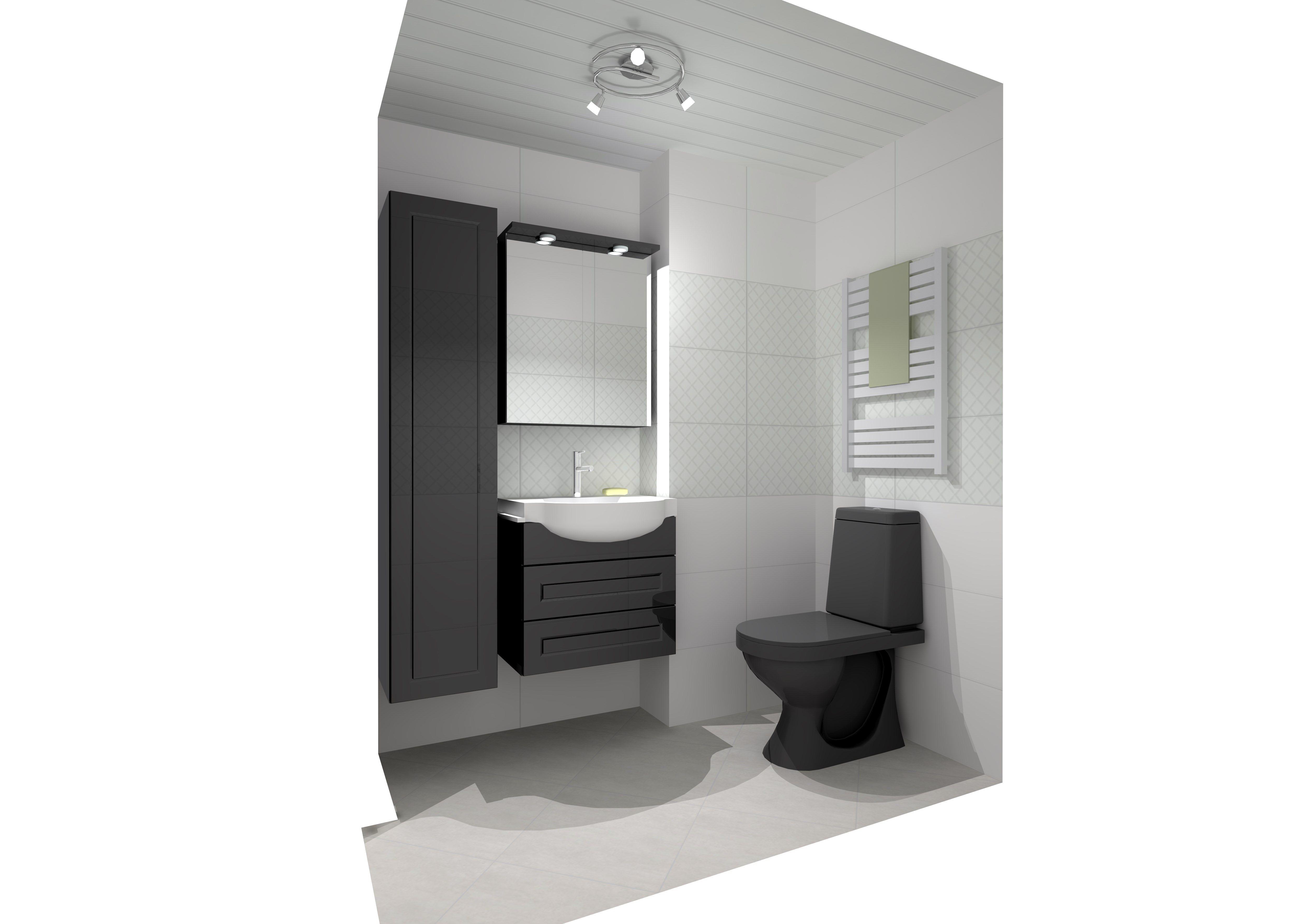 Kylpyhuonesuunnitelma Charisma.   Tyylikkään rohkea kylpyhuone syntyy geometrisesti kohokuviodun valkoisen Charisma-seinälaatan ja mustien Noro Polo -kylpyhuonekalusteitten yhdistelmästä. Komeana yksityiskohtana toimii kiiltävän musta wc-istuin Iona Lux. www.k-rauta.fi