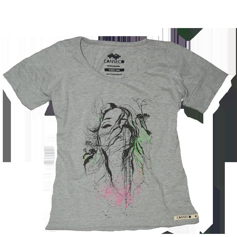 Camiseta Rosto Abstrato - Feminina - Camisetei