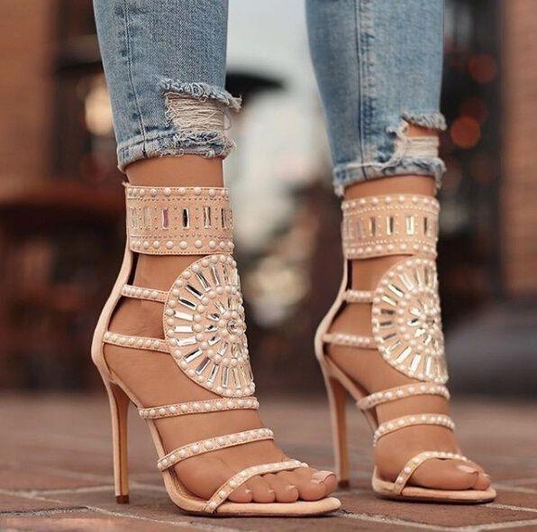 fe923607894 Women Fashion Stick A Drill Sandals Exotic High Heels Summer Luxury ...