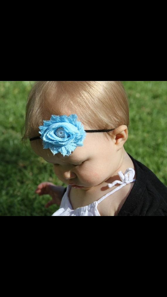 Baby headband Newborn headband Blue rosette on a by My2SweetPeaz, $6.00