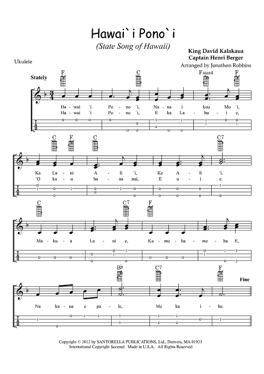 Hawaii Ponoi State Song Of Hawaii Sheet Music Preview Page 1