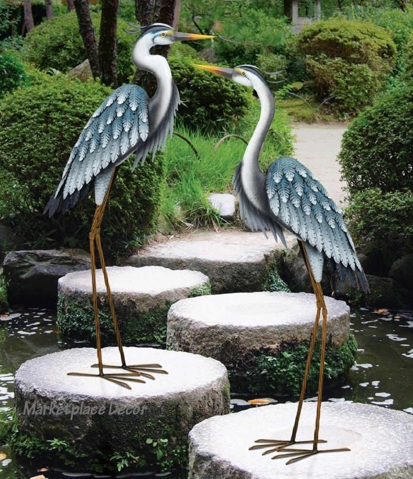 Details about blue heron pair coastal metal garden statue