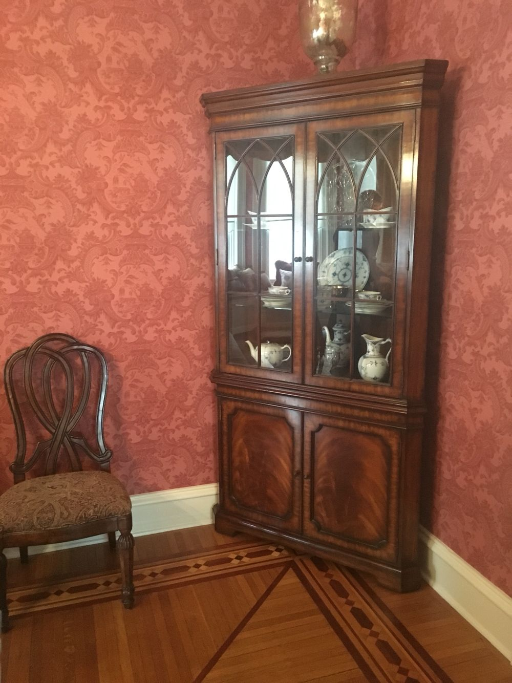 China Cabinet Cole And Sons Chinese Chippendale Red Wallpaper