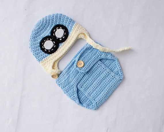 READY TO SHIP Baby Aviator Hat and Diaper by SweetBabyJamesShop
