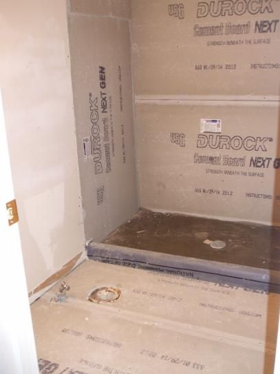Before Replaced Drywall With Durock On Three Walls And Bathroom