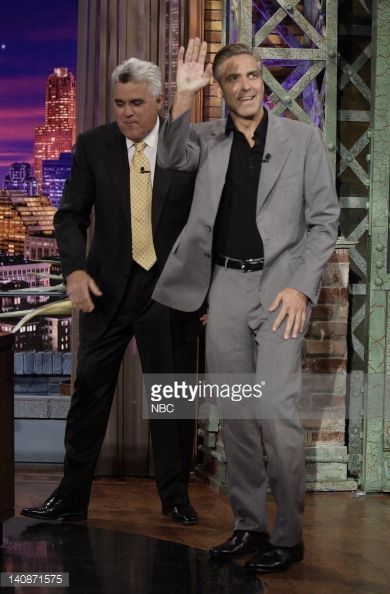 Host Jay Leno greets actor George Clooney on June 5, 2007 -- Photo by: Paul Drinkwater/NBCU Photo Bank