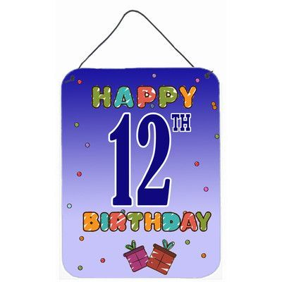Carolines Treasures Happy 12th Birthday Graphic Art Hanging Aluminum Print