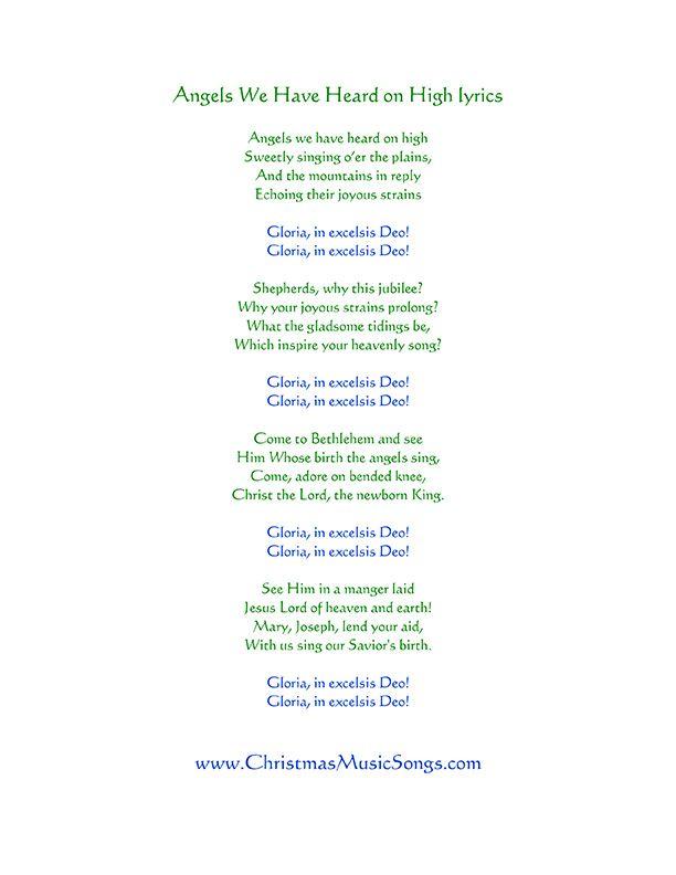 Angels We Have Heard on High lyrics (With images)   Lyrics, Christmas carols songs, Wax lyrical