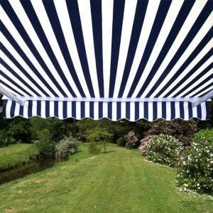 Aleko 10 8 Feet Retractable Patio Awning Blue White Strap 3m X 2 5m 299 00 Pergola Patio Awning Backyard Pergola