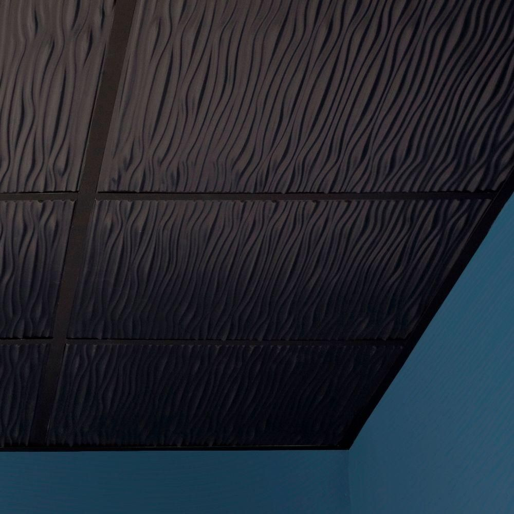 Genesis Drifts 2 Ft X 2 Ft Lay In Ceiling Panel 751 07 Black Ceiling Tiles Black Ceiling Black Drop Ceiling