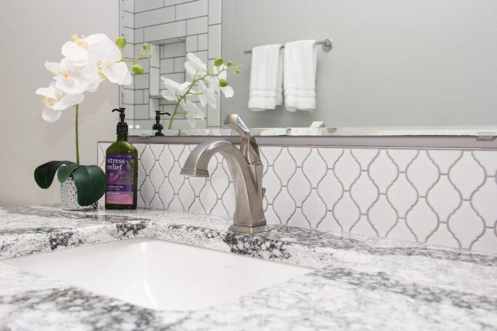 White Arabesque Tiled Bathroom Vanity Splash Tile Backsplash
