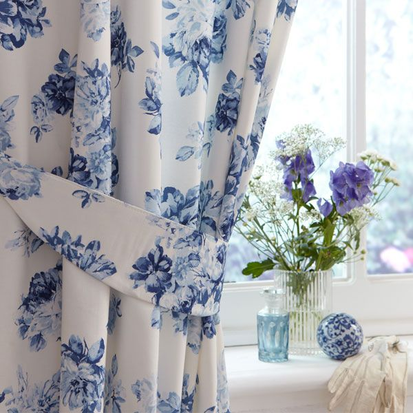 Pin By Gemma Treharne Foose On Projects To Try Blue Floral Bedroom Curtains Floral Bedroom