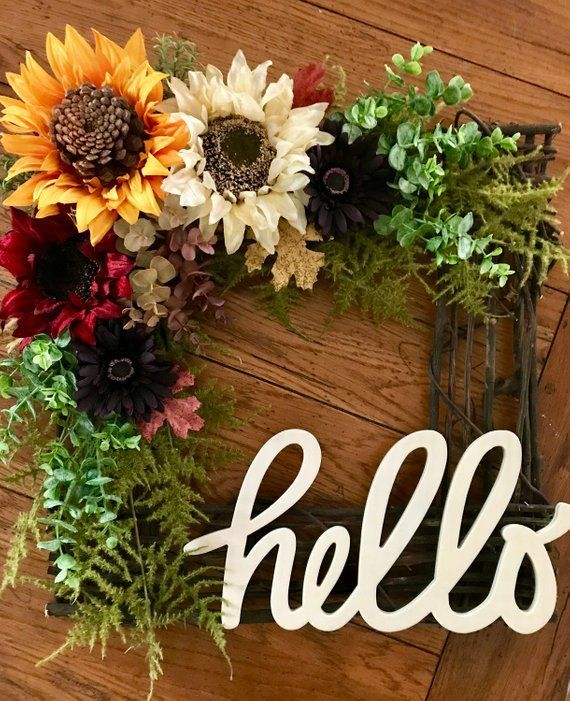 Photo of Large Square Fall Wreath, Large Square Autumn Wreath, Front Door Wreath, Hello Greeting Wreat …