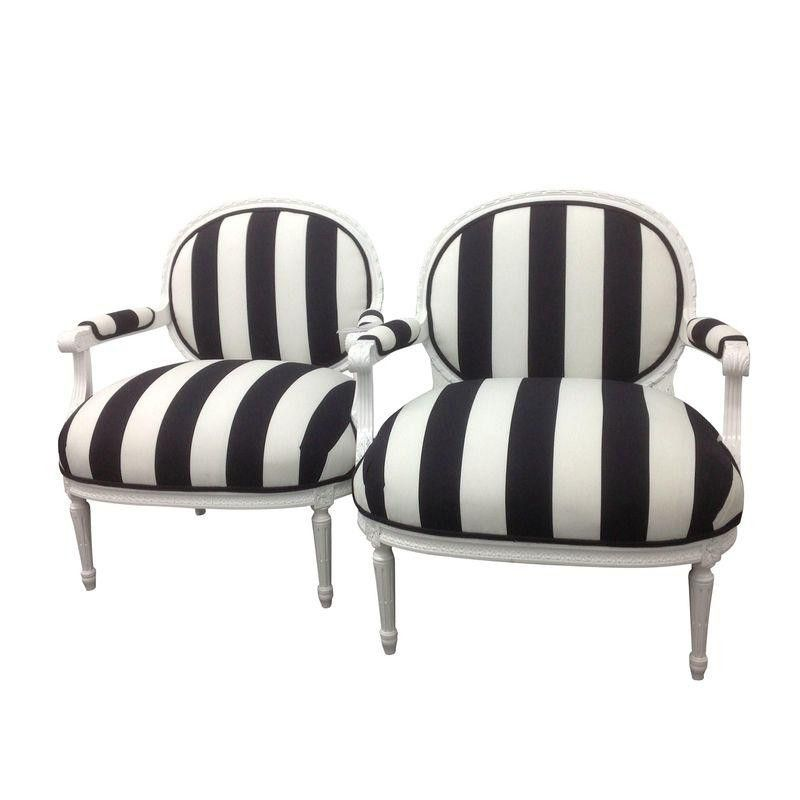 French Black U0026 White Striped Chairs   A Pair