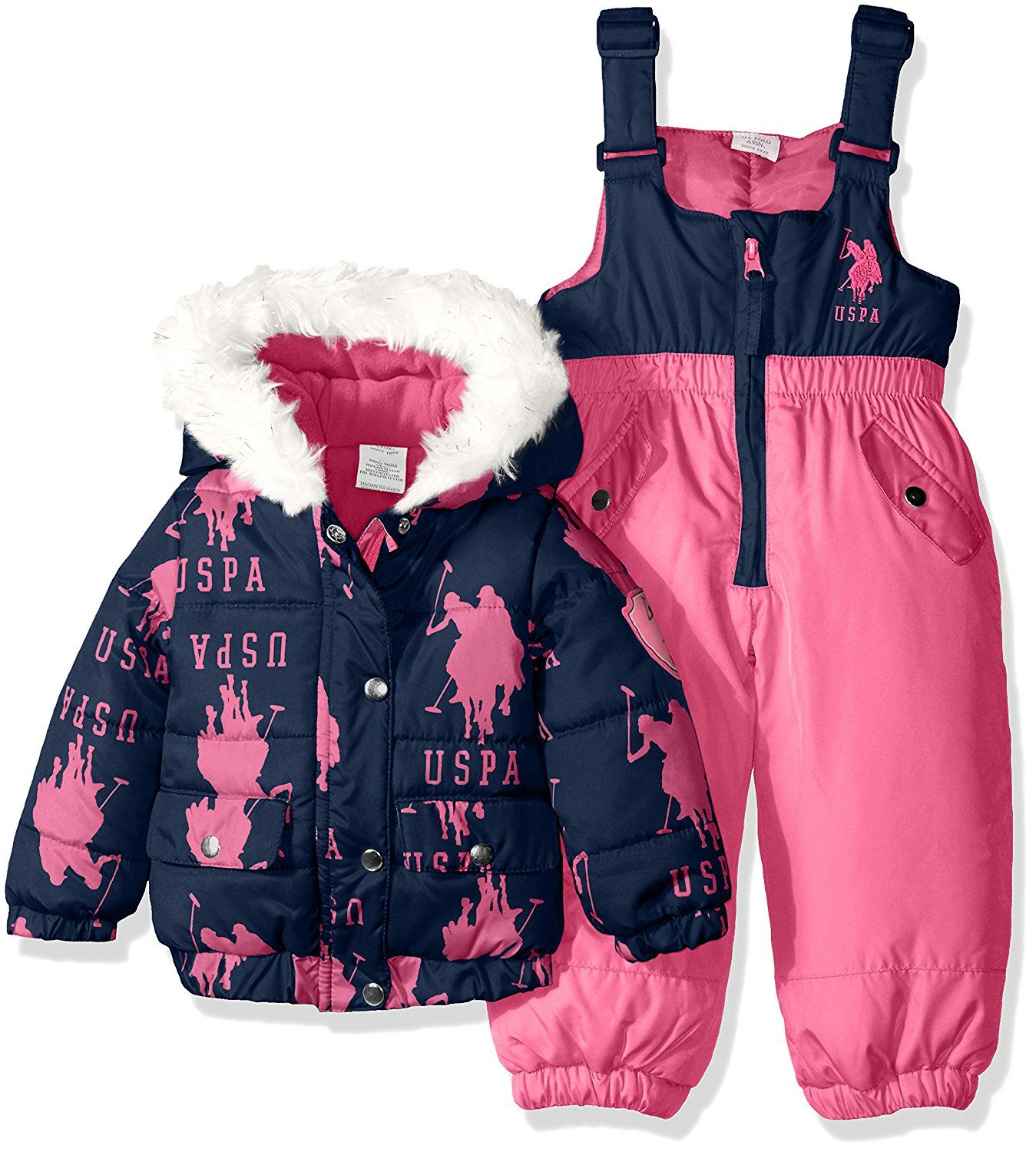 U S Polo Assn Baby Girls Pearlized Cire Bubble Snow Suit See
