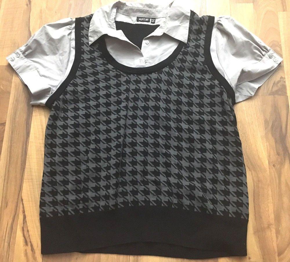 Womens Plus Size 2x Apt 9 Black Grey Houndstooth Dress Polo Shirt