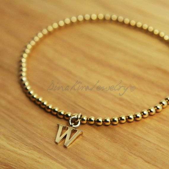New 925 Sterling Silver initial Ball Bracelet di DinaKimJewelry