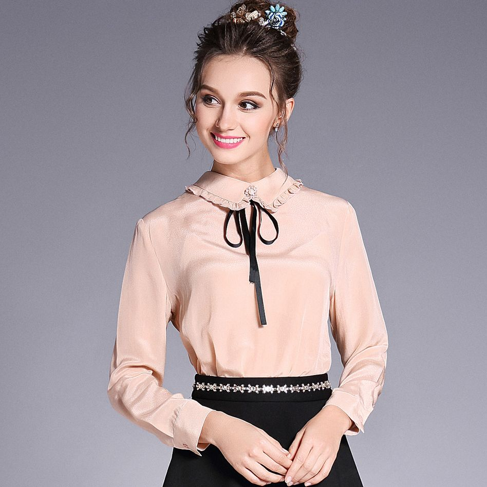 Ouyalin lxl women plus size chiffon blouse solid color spring