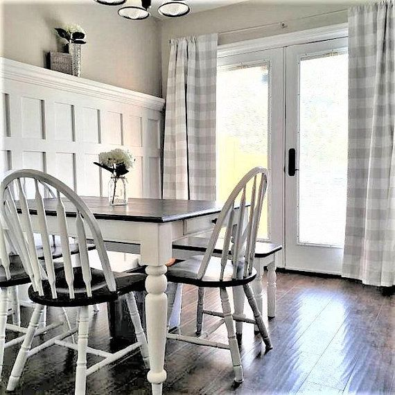 Kitchen Living Room Pass Through See Description: Light French Gray And White Buffalo Check Curtains