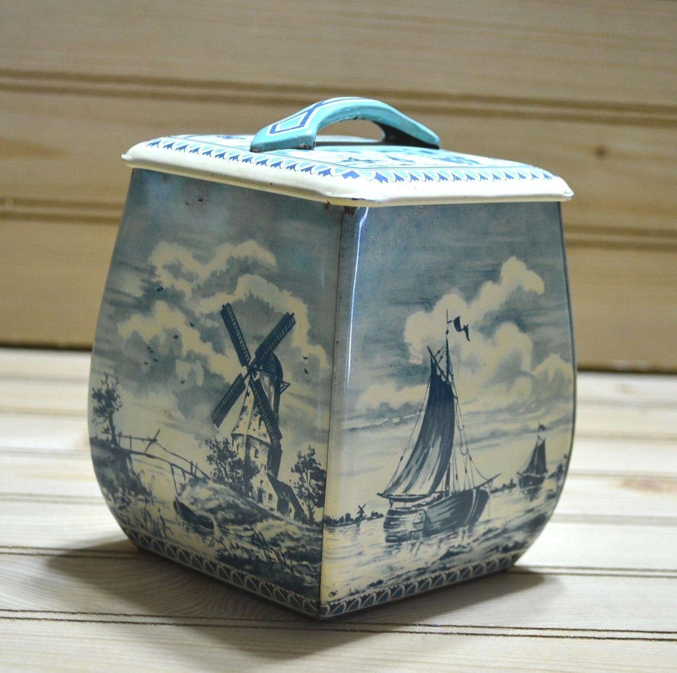 Decorative Cookie Containers Vintage Blue And Ivory Biscuit Tin Container Tea Spices