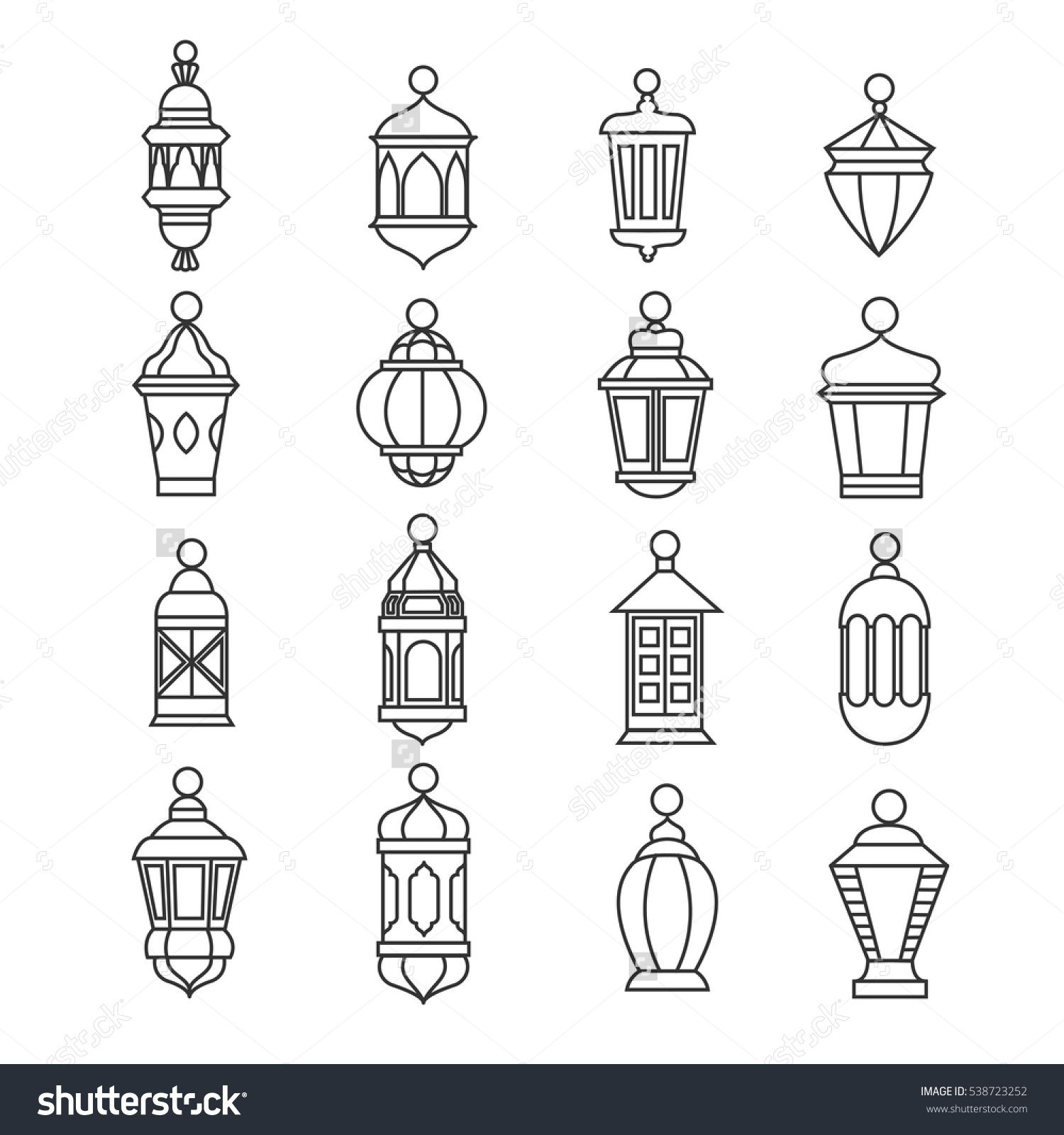 Ramadan Vintage Lantern Linear Icons Vector Muslim Antique Lamp Symbols Old Oil Classic Illustration