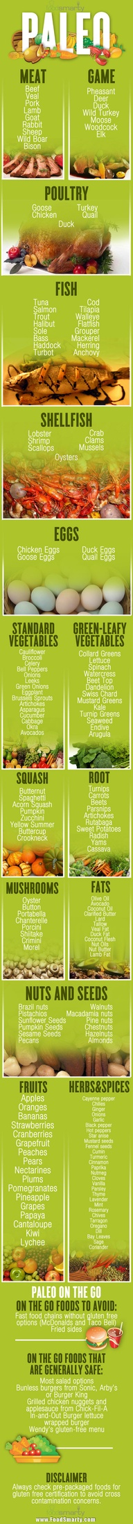 Paleo Diet Info Graphic - Quick Reference Card (Obviously, we do not agree with all that goes along with the Paleo diet. However, God did make these foods for man to live by and man has added all the rest. It is a way of eating to lead to a healthy lifestyle.)