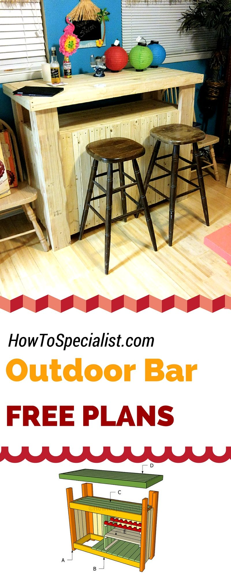 Diy bar plans howtospecialist how to build step by step diy plans - How To Build An Outdoor Bar Free Plans For You To Build A Wooden Bar Using My Step By Step Instructions And Diagrams Diy Bar Howtospecialist C