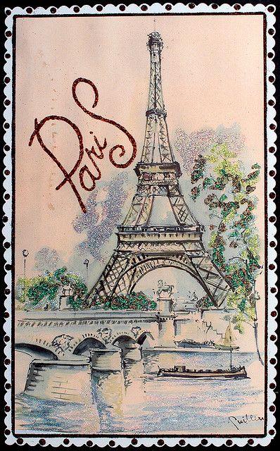 Рисованные французские открытки