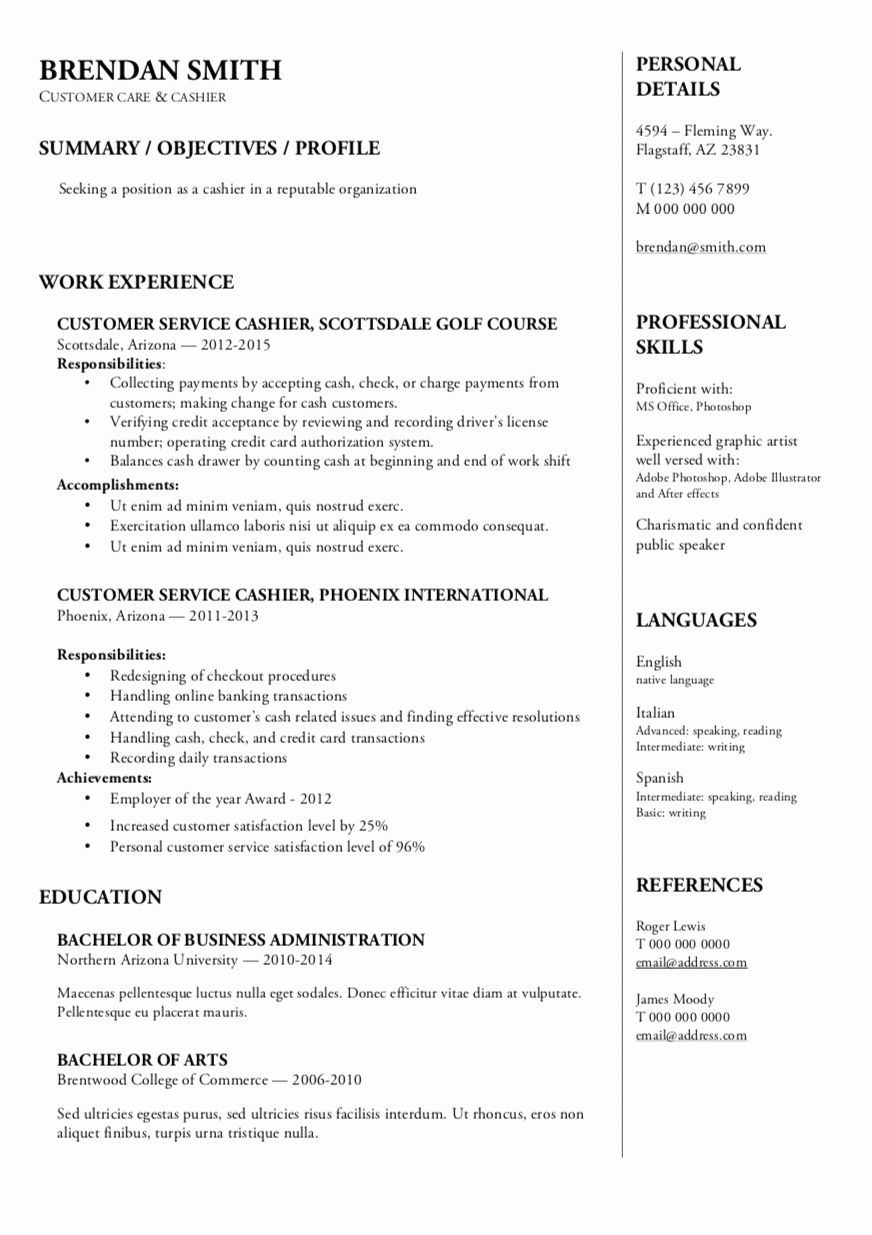 Cashier Customer Service Resume Luxury Resume Templates in