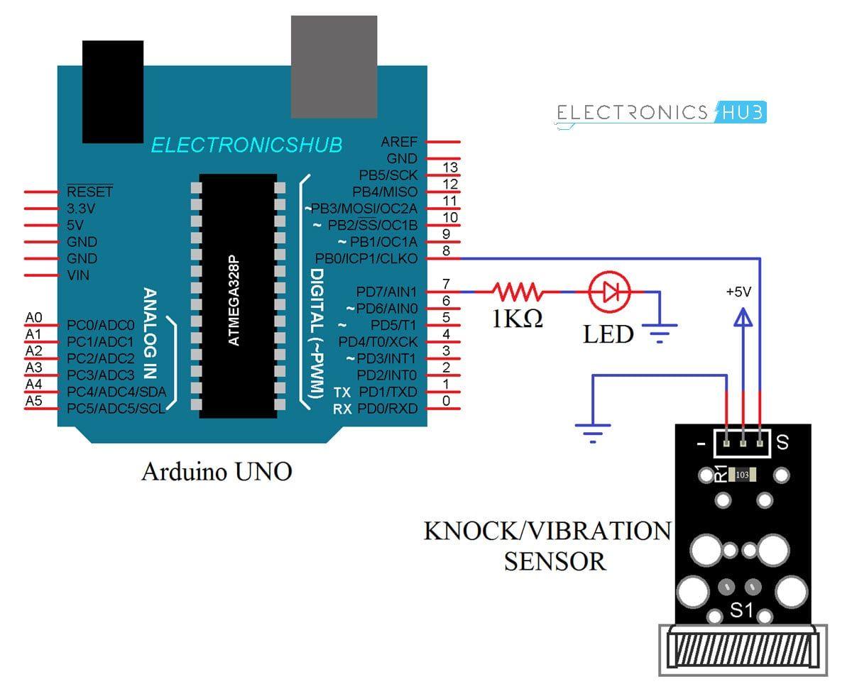 Interfacing Knock Sensor With Arduino Vibration Tap Sensor Interfacing Circuit Diagram Working Code Circuit Diagram Arduino Circuit Arduino