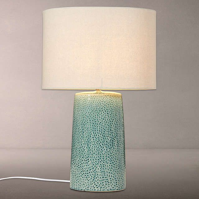 Buyjohn lewis capelin tall dimpled ceramic table lamp aqua online at johnlewis com