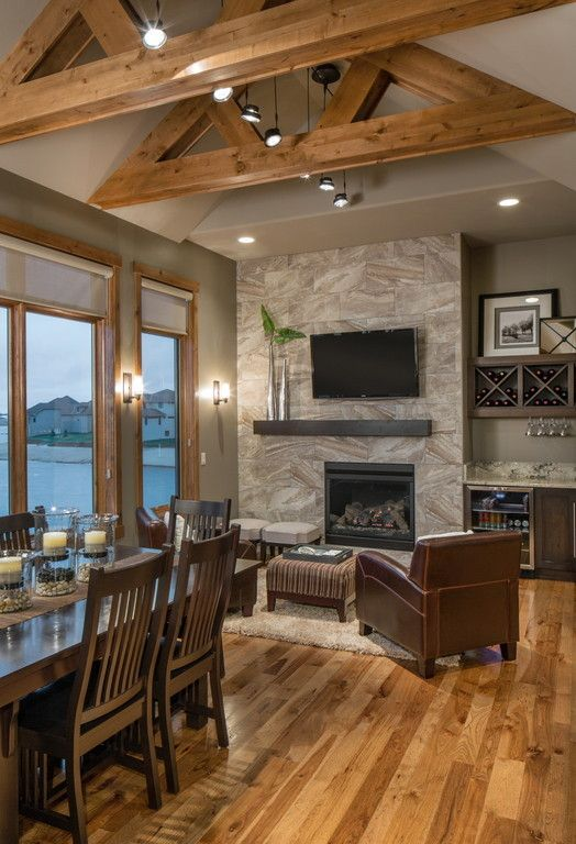 Rustic Chic Lake House Kitchen Contemporary Rustic Living Room Living Room Decor Fireplace Modern Lake House #rustic #lake #house #living #room