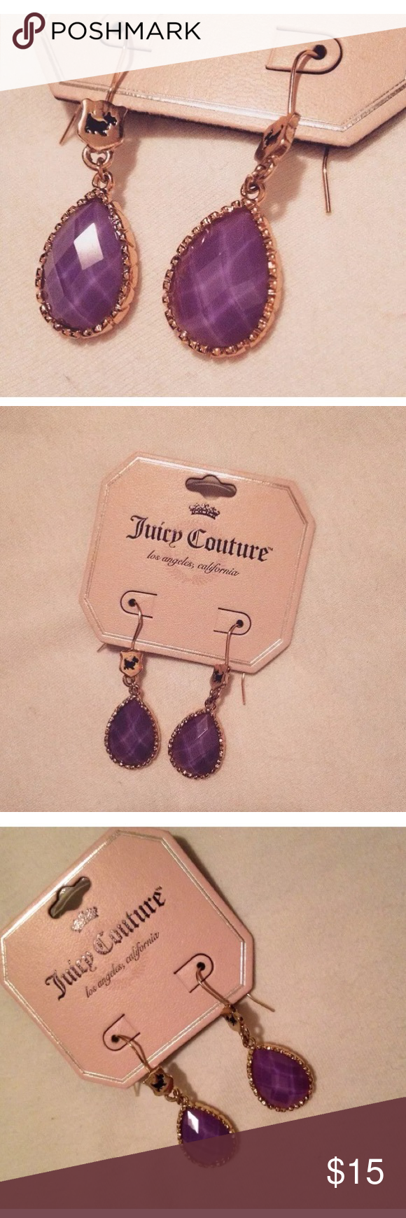 Juicy Couture Purple Teardrop Dangle Earrings Up for grabs is a brand new pair of Juicy Couture Purple and Gold Rhinestone Dangle earrings with tags. Please message me if you have any questions. Thank you! Juicy Couture Jewelry Earrings
