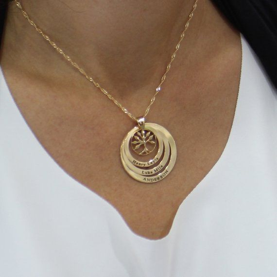 Gold Plated Mother Necklace With Names and Birthstones Up to Seven Names Tree of Life Engraved Jewelry Personalized Mother/'s Gift