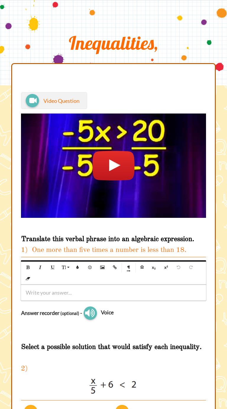 Inequalities Worksheet Free Math Worksheets Learning Worksheets Verbal Phrases [ 1380 x 768 Pixel ]