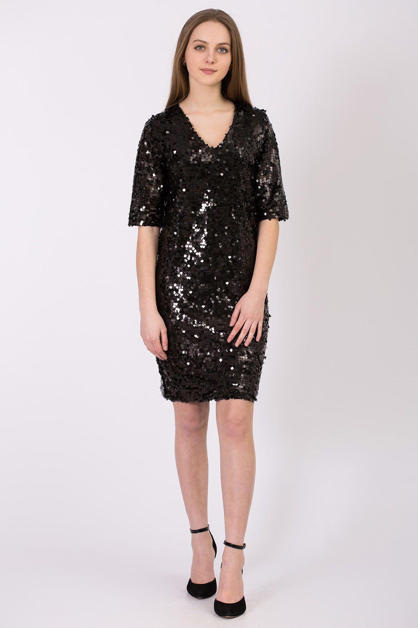 ccfa4fdc426 Чёрное трикотажное платье VANESSA с блестящими пайетками Garne ...