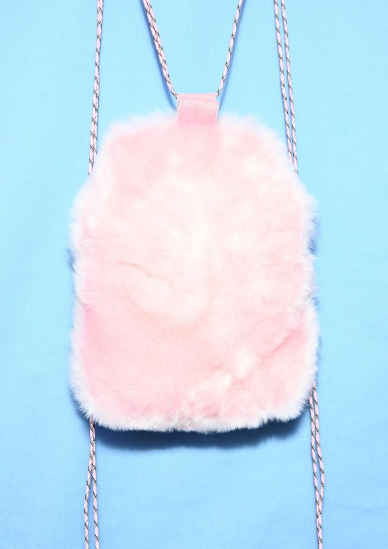 SOMEWHERE NOWHERE Baby Pink Faux Fur Drawstring Backpack- Made ...