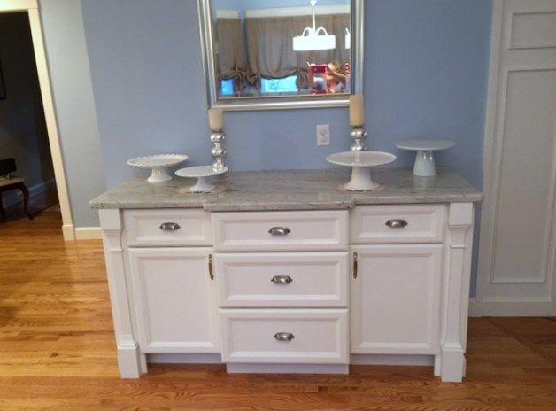 White Kitchen Cabinet Buffet Cabinetry Granite Countertop In King Fisher Blu Kitchen And Bath Remodeling Kitchen Cabinets And Granite Kitchen And Bath Design