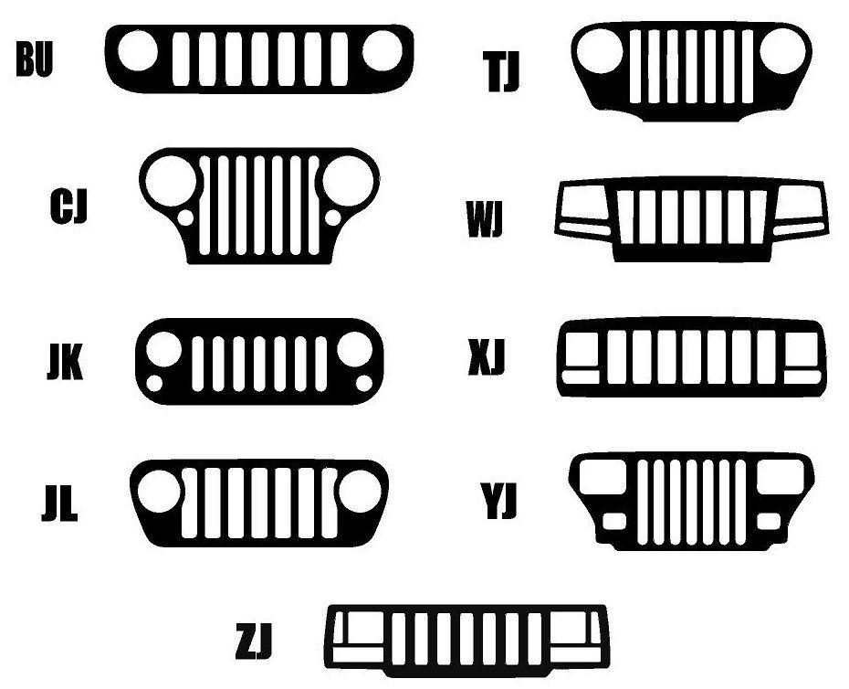 Jeep Grilles By Model Bu Cj Jk Jl Tj Wj Xj Yj Zj Vinyl Stickers