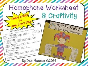 April fools day homophone craftivity writing and word work this activity allows your students to practice identifying the correct homophone to use in a sentence and it allows them to produce their own sentences stopboris Image collections