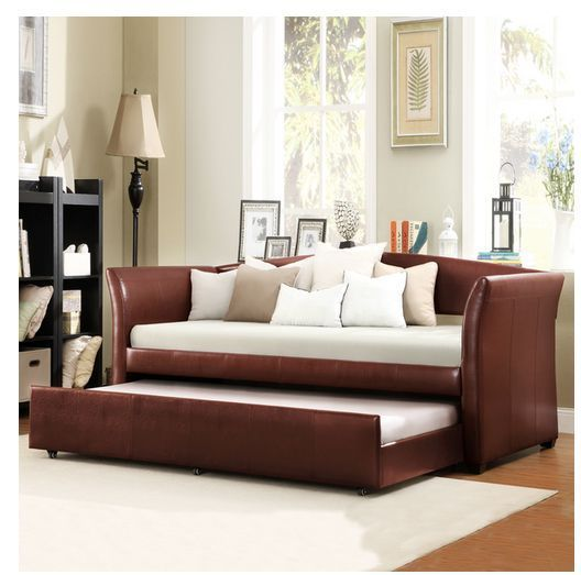Faux Leather Daybed with Trundle Bed Couch Sofa Guest Bedroom Furniture Frame #Tribecca #Modern