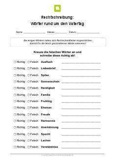 Arbeitsblatt: Rechtschreibung Vatertag | kostenlose Arbeitsblätter ...
