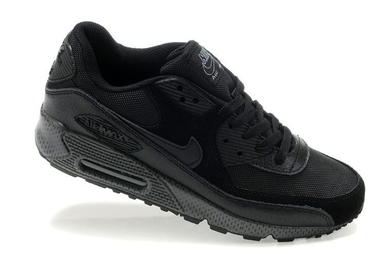 new product 1372b 61c80 Herren Nike Air Max 90 Leather Up Schuhe All Black
