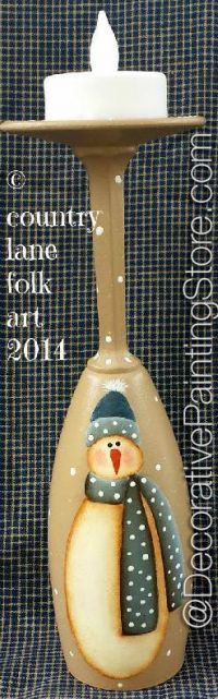 The Decorative Painting Store: Snowman Wine Glass Candle Holder Pattern - Becky Levesque - PDF DOWNLOAD, Becky Levesque
