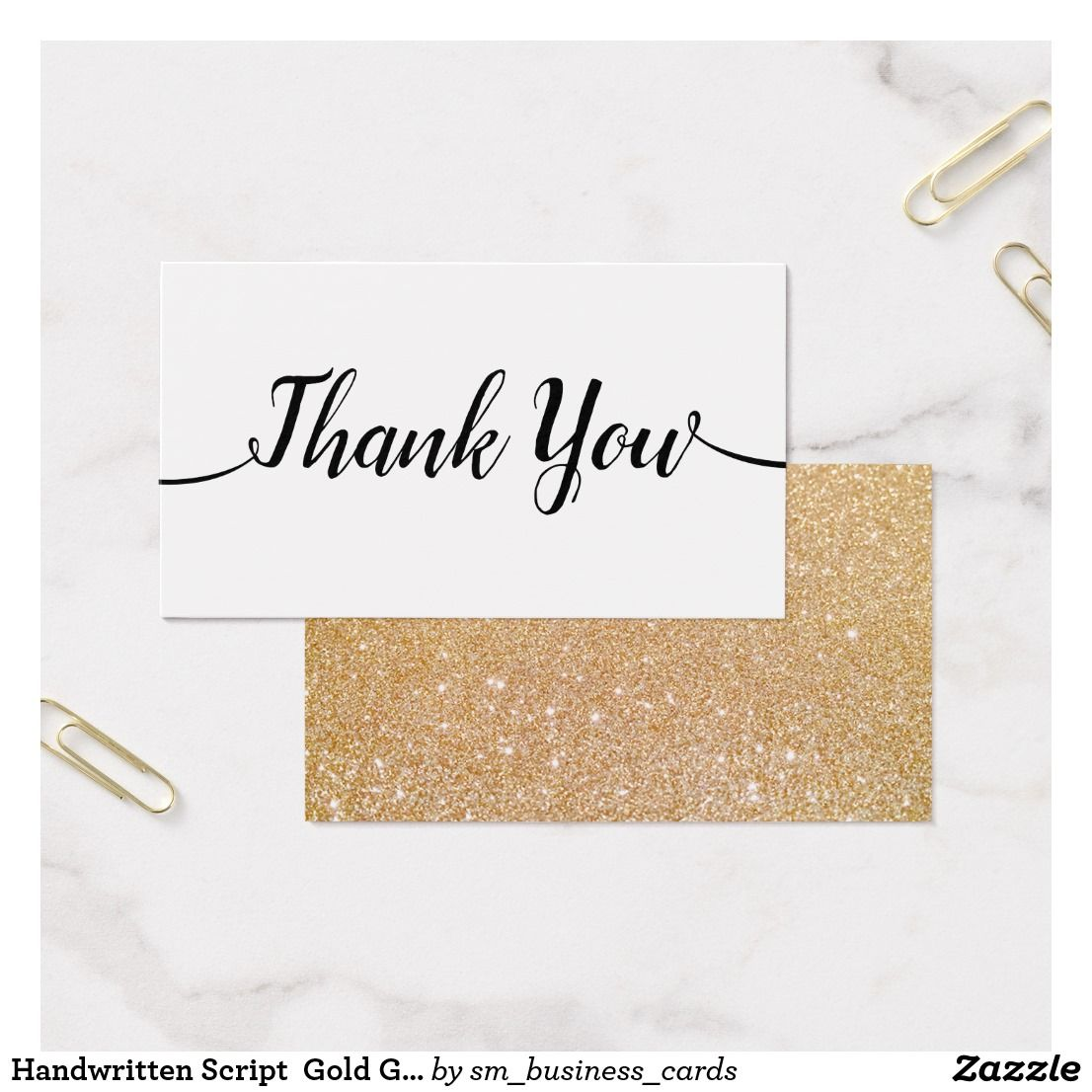 Handwritten Script Gold Glitter Thank You Business Card | Business ...