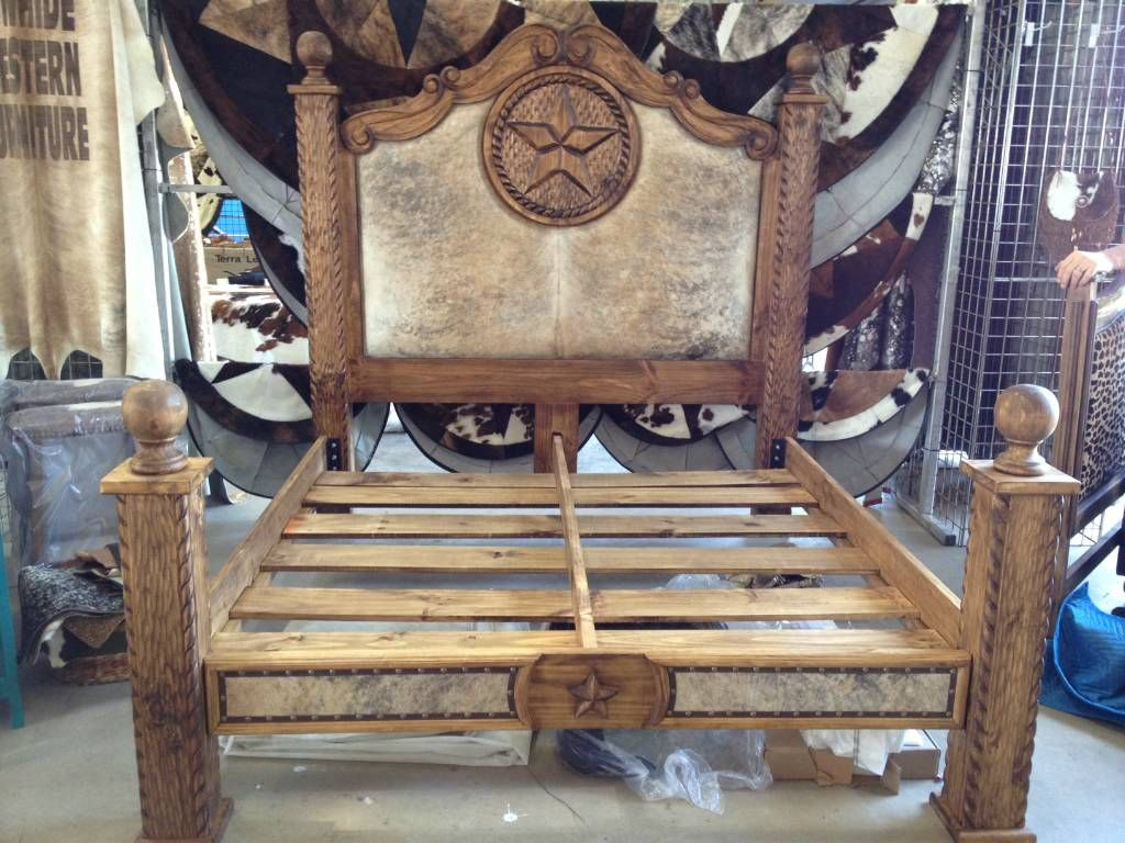 Great King Size Cowhide Bed From Cowhide Western Furniture.....just Bought A