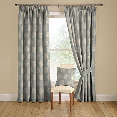 Duck egg \u0027Pom Pom\u0027 lined curtains with pencil - in Debenhams and - cortinas azules